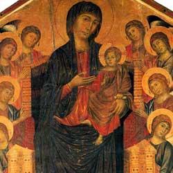 Cimabue: Madonna in Trono チマブーエ作「荘厳の聖母 マエスタ」 1279-1280年頃、第2室