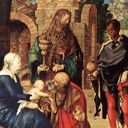 Albrecht Dürer: Adorazione dei Re Magi アルブレヒト・デューラー作「東方三賢王の礼拝」 1504年、第20室