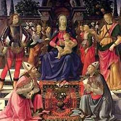 Ghirlandaio: Madonna in trono col Bambino e Santi ギルランダイオ作「玉座の聖母子と天使と聖人たち」 1484年、第10-14室