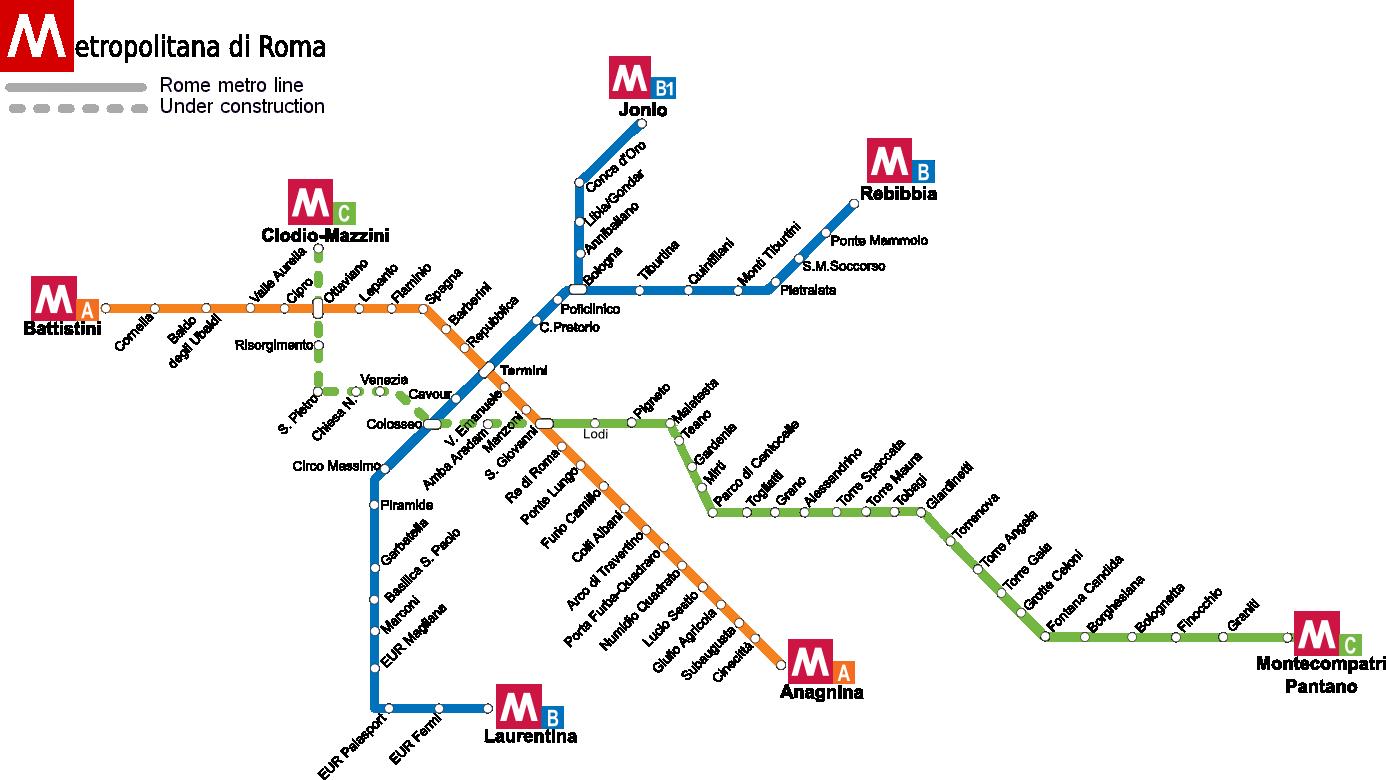 ローマ地下鉄の路線図