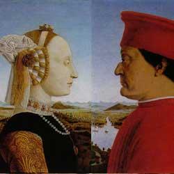 Piero Della Francesca: Dittico dei Duchi d'Urbino ピエロ・デッラ・フランチェスカ作「ウルビーノ公夫妻の肖像」 1465-1466年、第8室