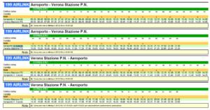 Verona Airlinkの時刻表
