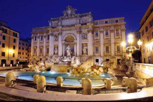 ローマの夜景 トレヴィの泉