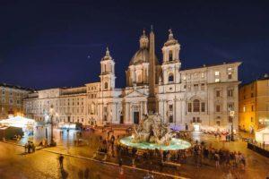 ローマの夜景 ナヴォナ広場